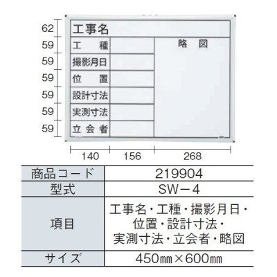 MYZOX マイゾックス ハンディスチールホワイトボード SW-4 (工事名・工種・撮影月日・位置・設計寸法・実測寸法・立会者・略図) 450mm x 600mm 現場写真工事用