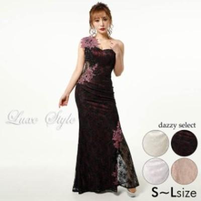 キャバ ドレス 2トーン レース ワンショルダー マーメイド ロング ドレス [LuxeStyle]| ドレス ワンピース ロングドレス ロング丈 セクシ