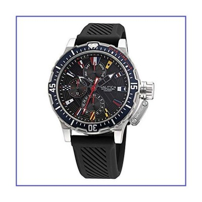 Nautica Men's Stainless Steel Quartz Silicone Strap, Black, 22 Casual Watch (Model: NAPGLF009)