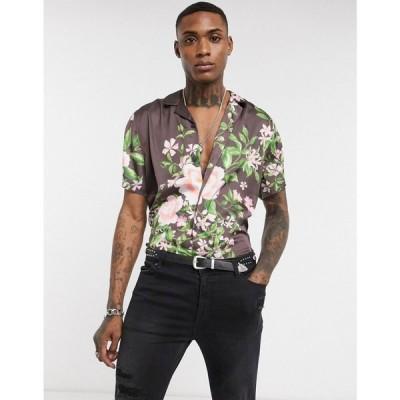 エイソス ASOS DESIGN メンズ シャツ トップス revere collar regular placement floral in burgundy バーガンディ