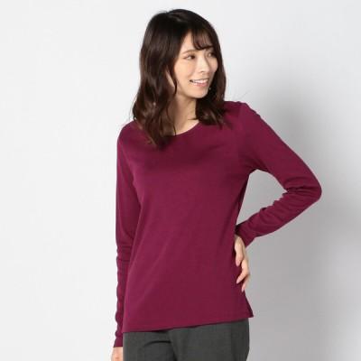 レディース 【在庫限り】ぱちぱちしないクルーネックTシャツ ワイン LL
