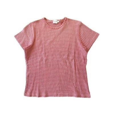 【中古】アルマーニ コレツィオーニ ARMANI COLLEZIONI Tシャツ カットソー 半袖 丸首 M 赤×白 レディース ★12 ※ レディース 【ベクトル 古着】