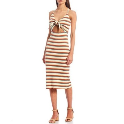 ボルコム レディース ワンピース トップス Dance Strides Stripe Tie Front Midi Dress