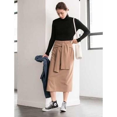 スカート ウエストリボン起毛スカート