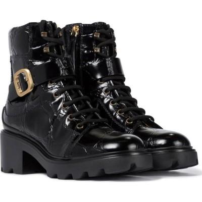 トッズ Tod's レディース ブーツ ショートブーツ クロコダイル柄 シューズ・靴 croc-effect leather ankle boots Nero