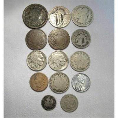 金貨 銀貨 硬貨 シルバー ゴールド アンティークコイン Vintage US Coin Lot 14pc Large Indian Steel Shield Liberty Buffalo Silver C6