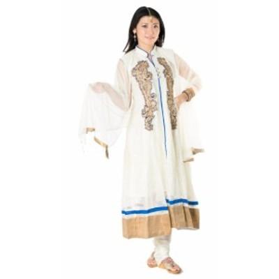 【送料無料】 サフェードのパンジャビドレス 3点セット 白×青 / パーティードレス コスプレ インドのドレス パンジャービードレス サリ