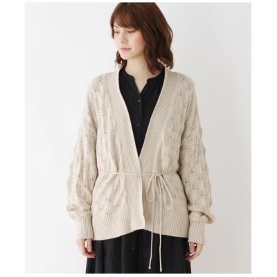 【フリーサイズ】リボン使い透かし編みニットカーディガン