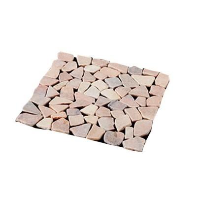 直送品 代引き不可 雑草が生えないおしゃれな天然石マット6枚組ピンク ご注文後、当日〜1営業日後の出荷となります