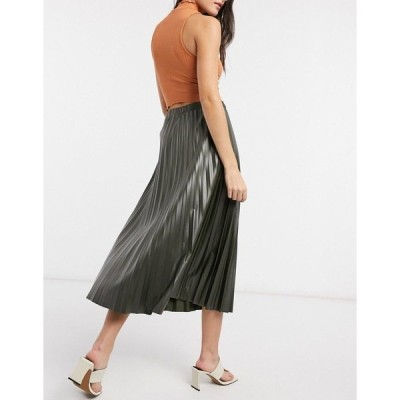 エイソス レディース スカート ボトムス ASOS DESIGN leather look pleated midi skirt in khaki KHAKI