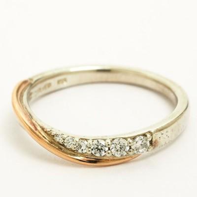 ヨンドシー ダイヤ風ジェム ジェム クロスデザイン リング シルバー/10金ピンクゴールド 10号 指輪