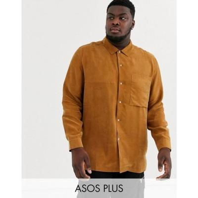 エイソス ASOS WHITE メンズ シャツ トップス Plus regular fit shirt in camel