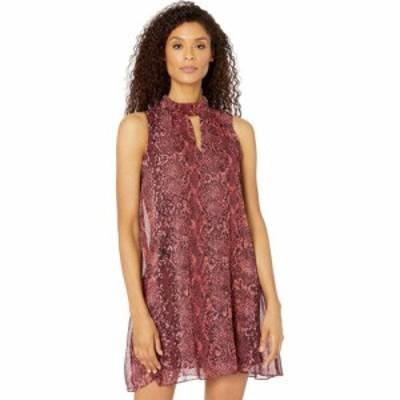 ロンドンタイムス London Times レディース ワンピース ワンピース・ドレス Snakeskin A-Line Tie Neck Sheer Dress Burgundy
