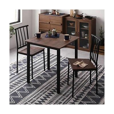ダイニング セット 3点 テーブル 70cm チェア 2脚 ブラウン ブラック シンプル モダン ヴィンテージ 木製 スチー?