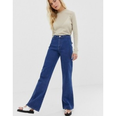 エイソス レディース デニムパンツ ボトムス ASOS DESIGN Full length flare jeans with pressed crease and western pockets in mid vin