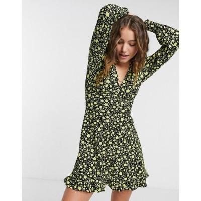 ミスセルフフリッジ レディース ワンピース トップス Miss Selfridge long sleeve mini dress in yellow and black floral