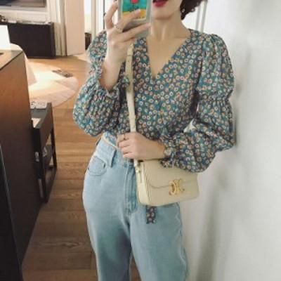 ブラウス レディース おしゃれ 長袖 半袖 花柄 シャツ レディース カシュクール ブルー きれいめ シンプル 着まわし 大人可愛い