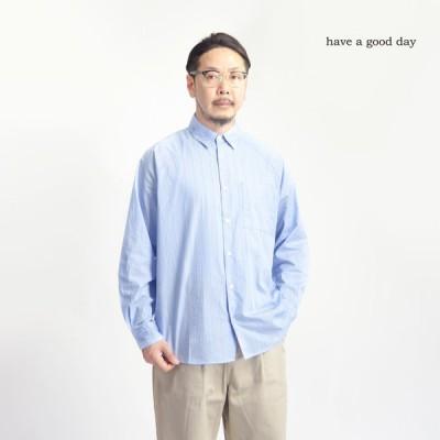 ハブアグッドデイ have a good day ストライプ ラグランシャツ 日本製 メンズ