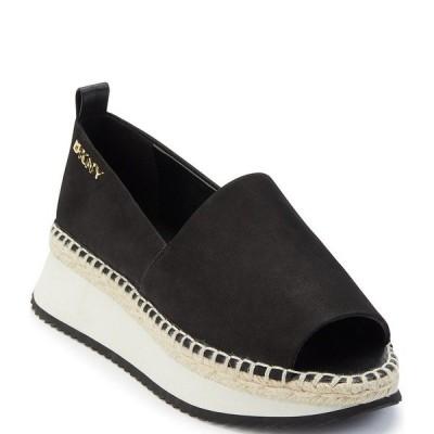 ダナ キャラン ニューヨーク レディース スリッポン・ローファー シューズ Orza Leather Peep Toe Slip-Ons Black
