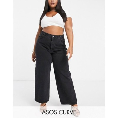 エイソス レディース デニムパンツ ボトムス ASOS DESIGN Curve High rise 'relaxed' dad jeans in washed black
