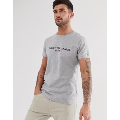 トミー ヒルフィガー メンズ Tシャツ トップス Tommy Hilfiger embroidered flag logo t-shirt in gray marl Cloud heather