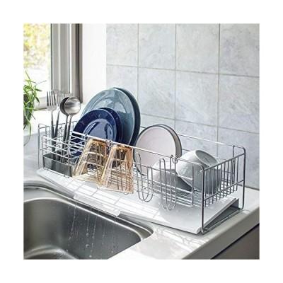 キッチン 家電 キッチン収納 水切り 水切りかご ラック オールステンレス製 シンクに渡せる水切り フッ素加工トレー付きスリムロング 581