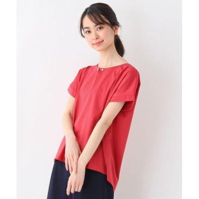 (pink adobe/ピンクアドベ)<WEB限定・LLサイズあり><洗える><UVカット><ひんやりタッチ>パールピン付きデザインTシャツ/レディース オレンジレッド(062)