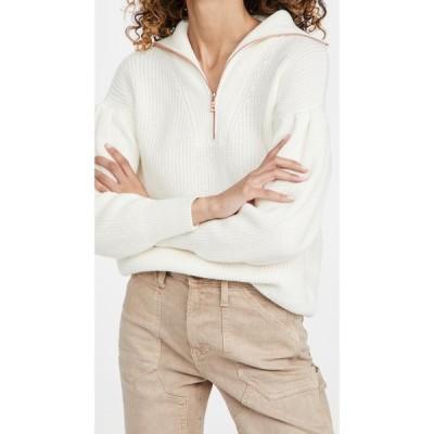 525 レディース ニット・セーター トップス Cotton Pleat Sleeve Quarter Zip Sweater Chalk