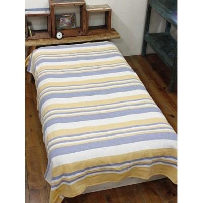 (CAYHANE/チャイハネ)【チャイハネ】インド綿ボーダー柄ベッドカバー シングルサイズ/ユニセックス イエロー