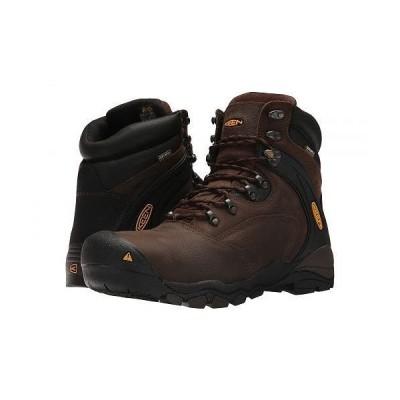 "Keen Utility キーン メンズ 男性用 シューズ 靴 ブーツ 安全靴 ワーカーブーツ Louisville 6"" Steel Toe - Cascade Brown"