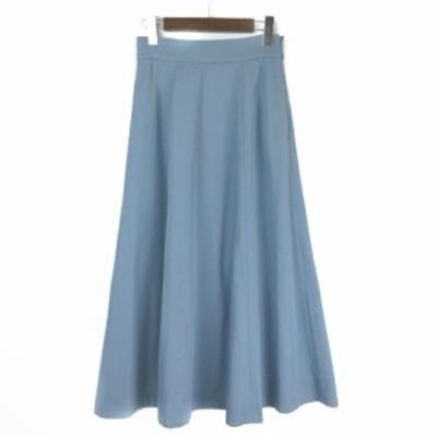 【中古】ナチュラルビューティーベーシック NATURAL BEAUTY BASIC ロングスカート フレア 無地 ブルー S レディース