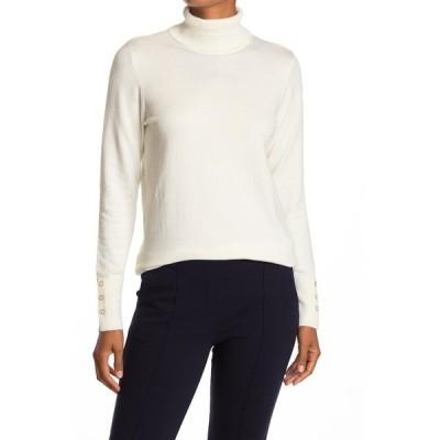 ジョセフ レディース ニット&セーター アウター Turtleneck Button Sleeve Pullover Sweater IVORY