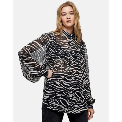 トップショップ Topshop レディース ブラウス・シャツ トップス oversized animal shirt マルチカラー