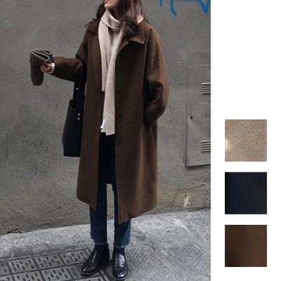 韓国 ファッション レディース アウター コート 秋 冬 カジュアル シンプル ベーシック ラフ ベイクドカラー naloH329 20代 30代 40代