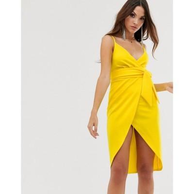 エイソス ミディドレス レディース ASOS DESIGN strappy cami wrap midi dress with sash detail エイソス ASOS