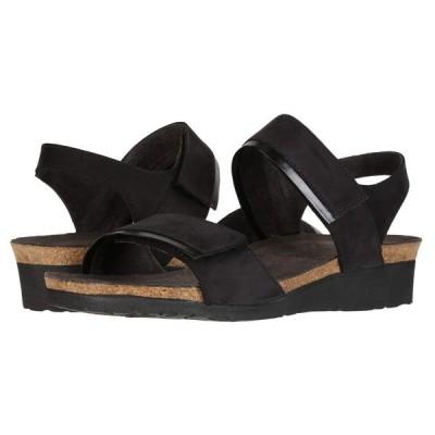 ナオト Naot レディース ヒール シューズ・靴 Aisha - Wide Black Velvet Nubuck/Black Madras Leather