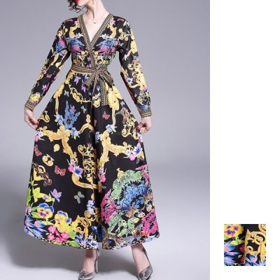 韓国 パーティードレス お呼ばれワンピース 夏 春 ブライダル ゴージャス スカーフ柄 Vネック ウエストマーク ロング naloE761 20代 30代 40代