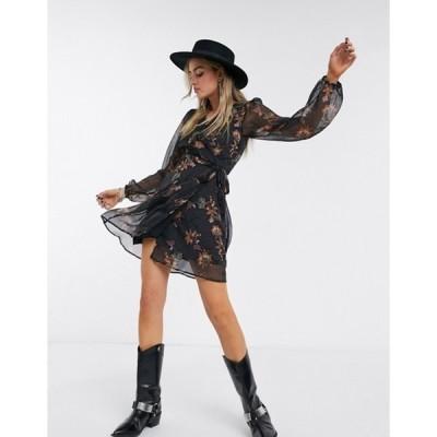 オブジェクト レディース ワンピース トップス Object chiffon wrap dress in black paisley