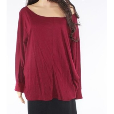 Red  ファッション トップス H by Bordeaux Womens Burgundy Scoop Neck Red Size XL Knit Top Cotton