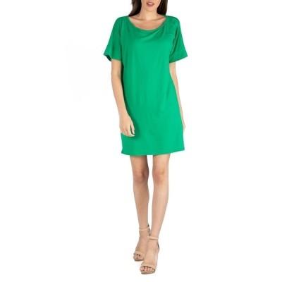 24セブンコンフォート ワンピース トップス レディース Women's Loose Fit T-Shirt Dress with Boat Neck Green