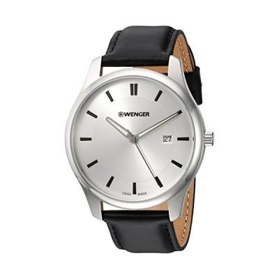 Wenger メンズ腕時計 シティ・クラシックシリーズ アナログディスプレイ スイス製クオーツ Silver Dial, Black Leather