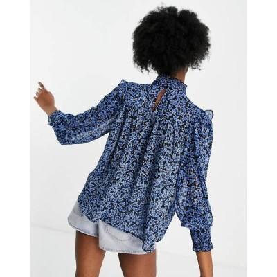ニュールック レディース シャツ トップス New Look shirred high neck blouse in blue floral Blues