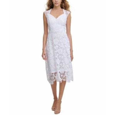 ゲス レディース ワンピース トップス Floral-Lace Cap-Sleeve Midi Dress White