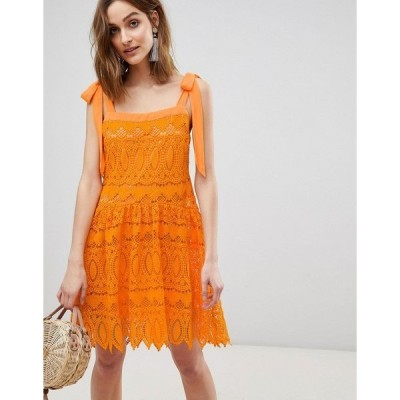 ヴェロモーダ レディース ワンピース トップス Vero Moda all over lace cami mini dress with tie straps in orange Sun orange