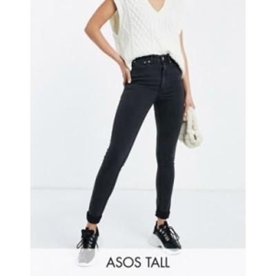 エイソス レディース デニムパンツ ボトムス ASOS DESIGN Tall high rise ridley 'skinny' jeans in washed black Washed black