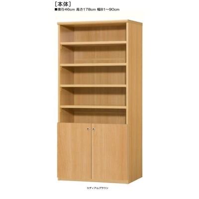 下部扉 オフィス書庫 高さ178cm幅81〜90cm奥行46cm厚棚板(棚板厚み2.5cm) 下扉高さ62.6cm CDディスプレイ ベッドルーム