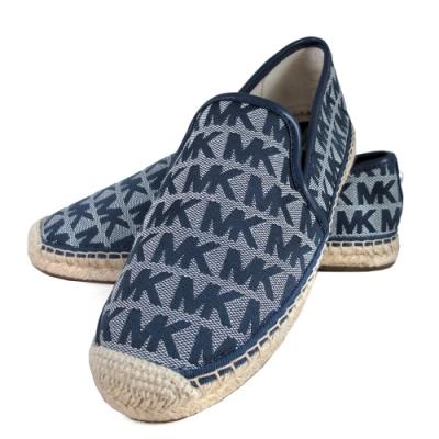 MICHAEL KORS緹花滿版MK單寧藍色草編鞋