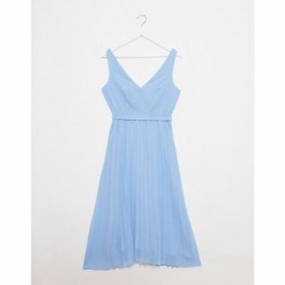 ニュールック New Look レディース ワンピース Vネック ミドル丈 ワンピース・ドレス v neck pleated midi dress in light blue ライトブ