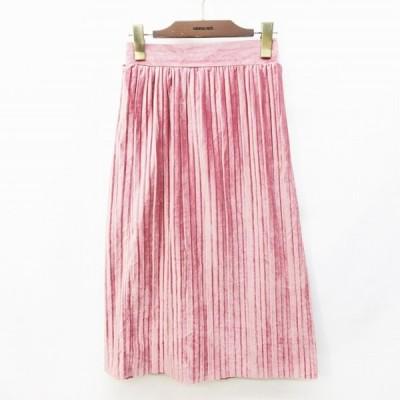 【中古】スピンズ SPINNS スカート ロング プリーツ ギャザー ベロア ウエストゴム F (M相当) ピンク レディース 【ベクトル 古着】