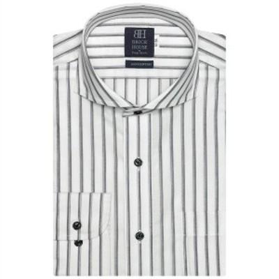 ブリックハウス(BRICKHOUSE)/形態安定 ノーアイロン 長袖ワイシャツ ホリゾンタル ワイド白×グレーストライプ 空き羽織 標準体